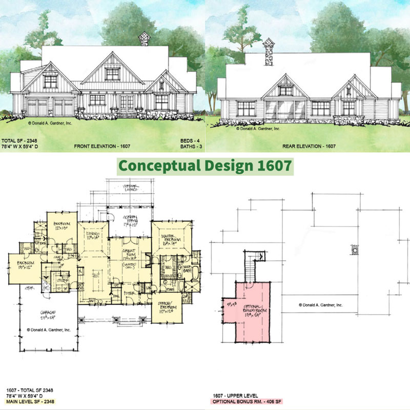 Overview of Conceptual house plan 1607.