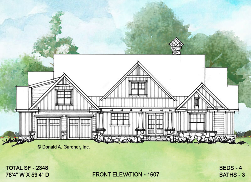 Front elevation of Conceptual house plan 1607.