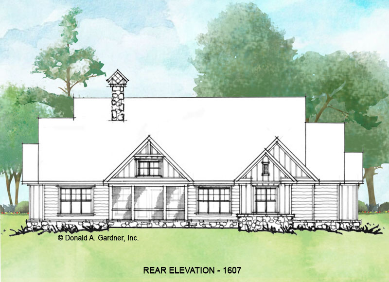 Rear elevation of Conceptual house plan 1607.