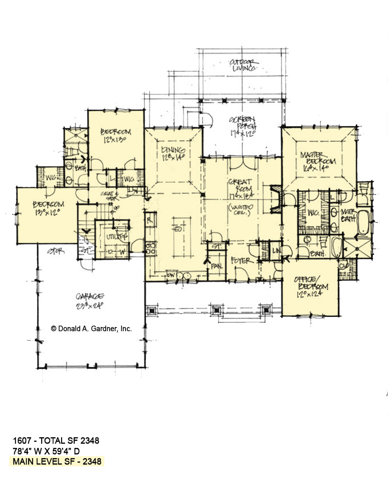 First floor of Conceptual house plan 1607.