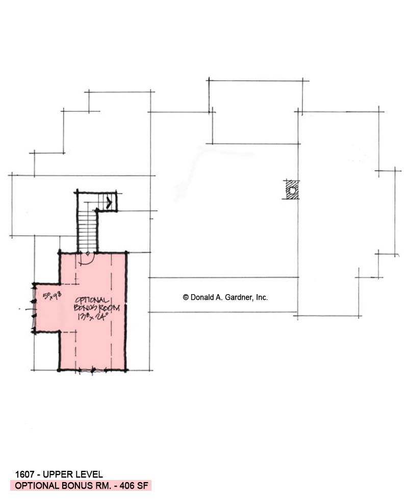 Bonus room of Conceptual house plan 1607.