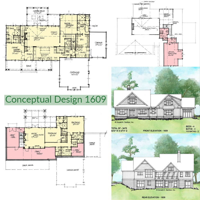 Overview of Conceptual house plan 1609.