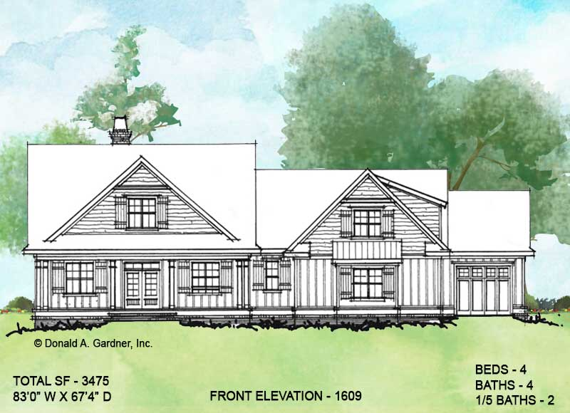 Front elevation of Conceptual house plan 1609.