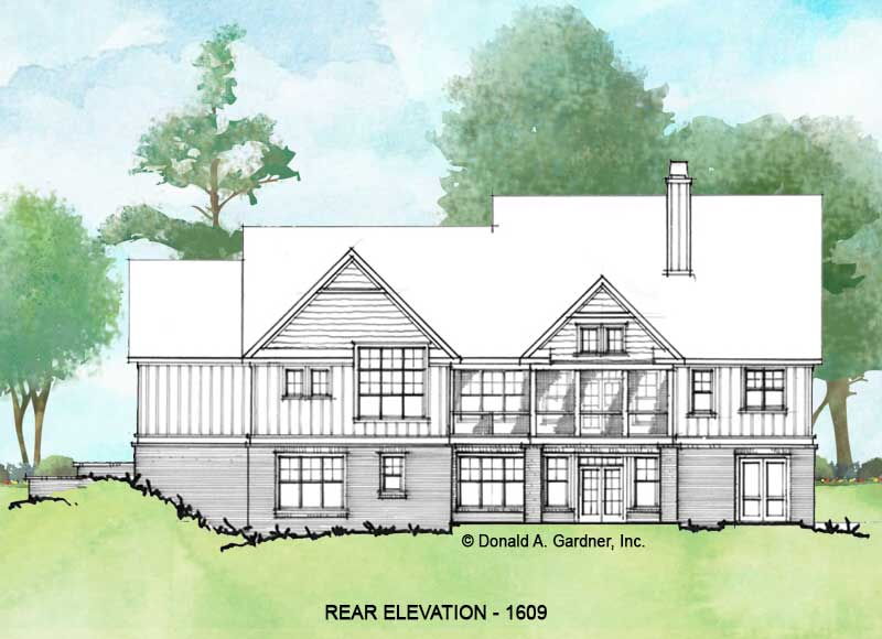 Rear elevation of Conceptual house plan 1609.