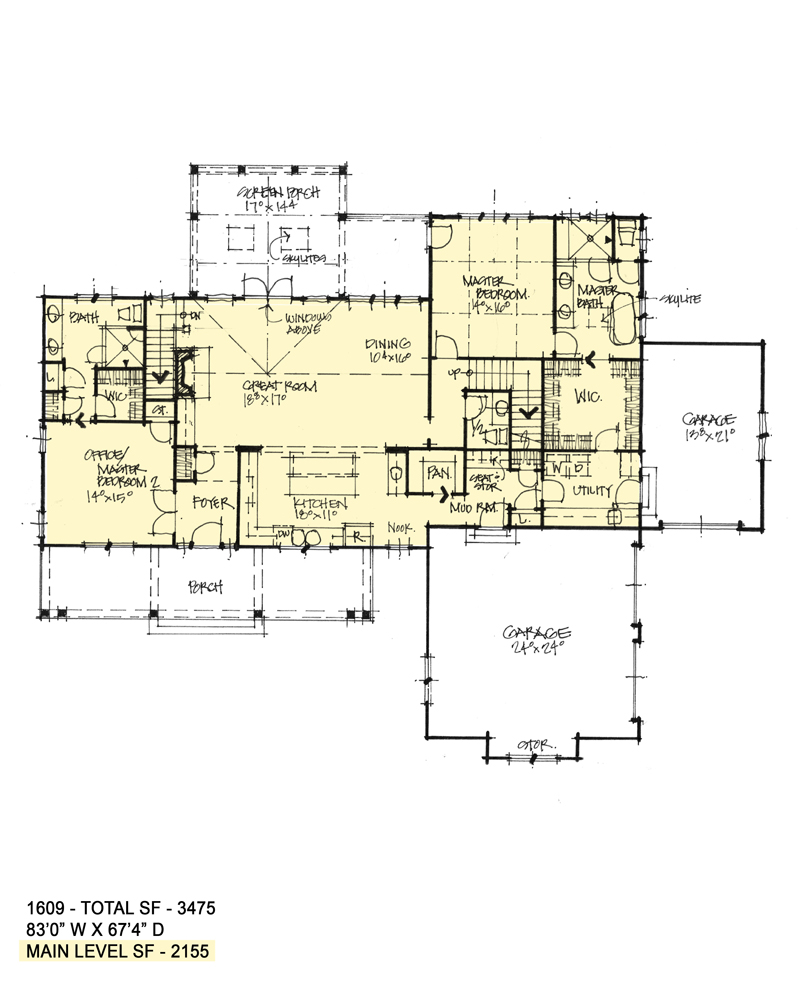 First floor of Conceptual house plan 1609.