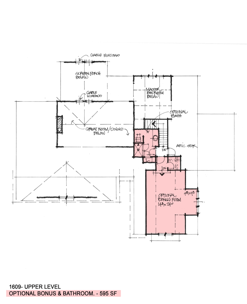 Bonus room of Conceptual house plan 1609.