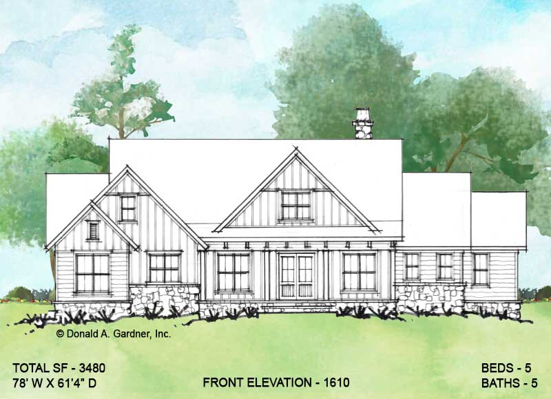 Front elevation of Conceptual house plan 1610.