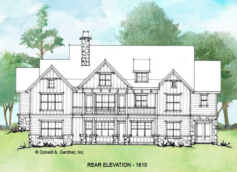 Rear elevation of Conceptual house plan 1610.