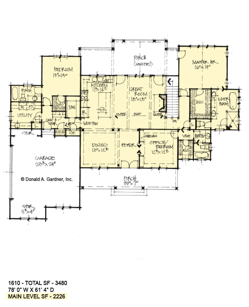 First floor of Conceptual house plan 1610.