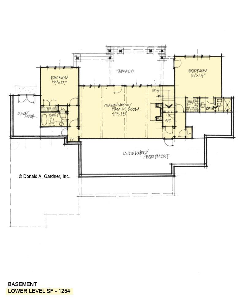 Basement floor of Conceptual house plan 1610.