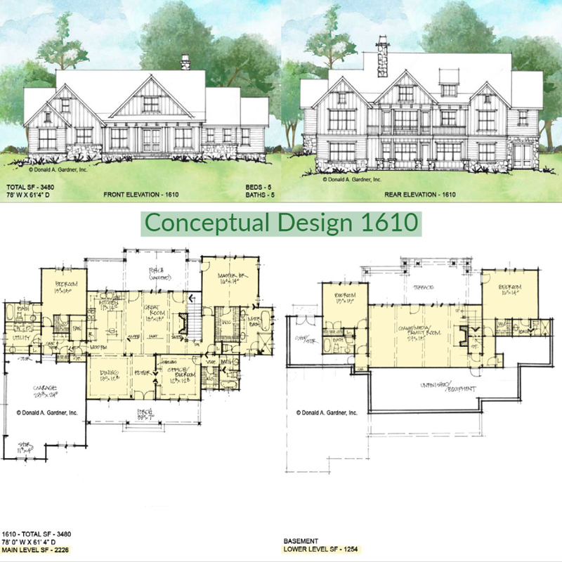 Overview of Conceptual house plan 1610.