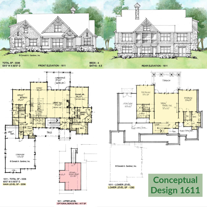Overview of Conceptual House Plan 1611.