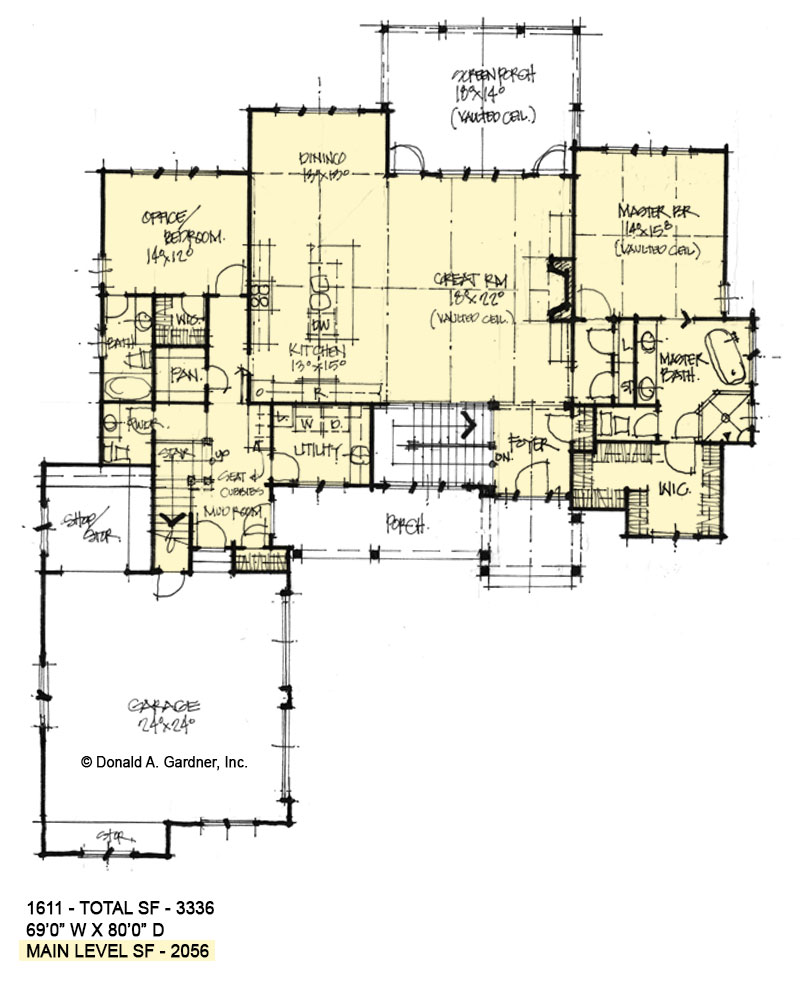 First floor of Conceptual House Plan 1611.