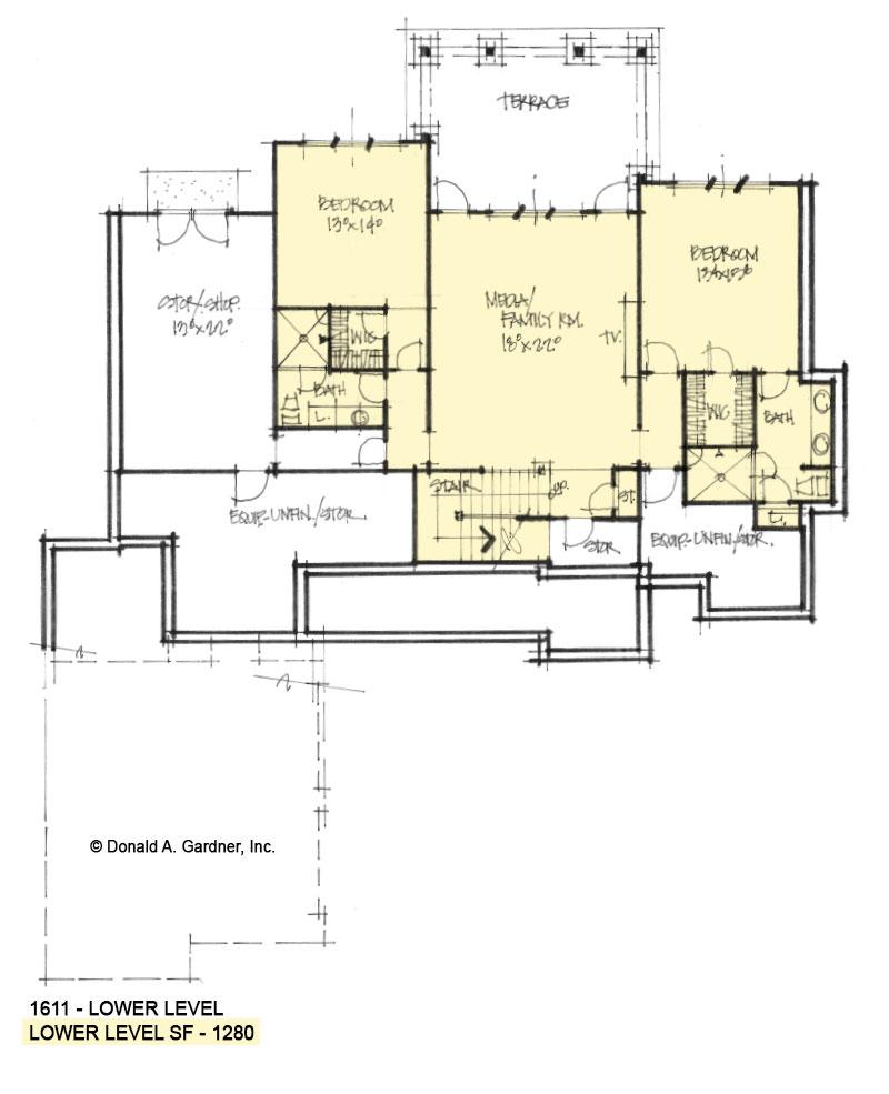 Basement plan of Conceptual House Plan 1611.
