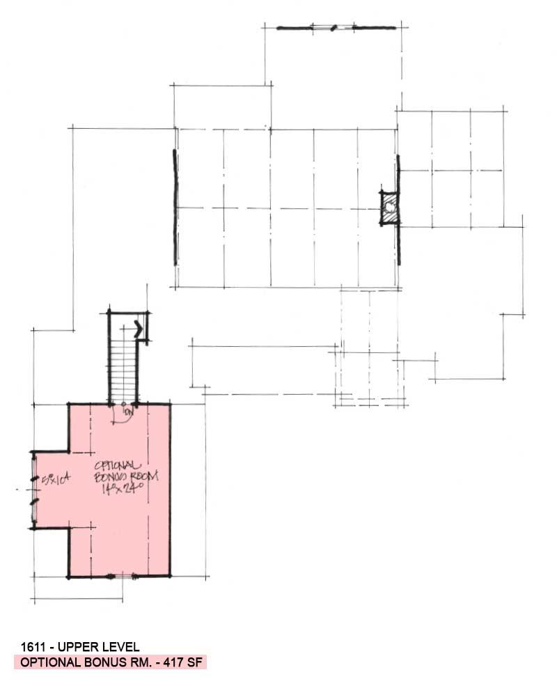 Bonus room of Conceptual House Plan 1611.