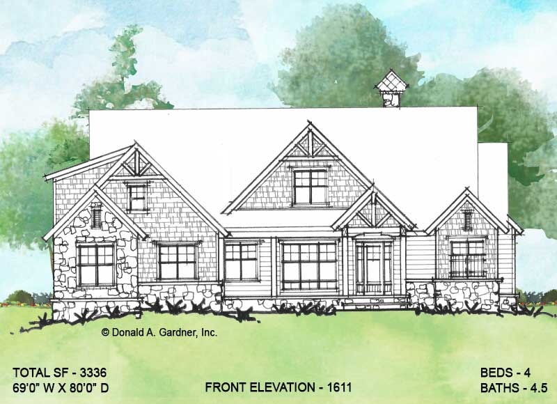 Front elevation of Conceptual House Plan 1611.