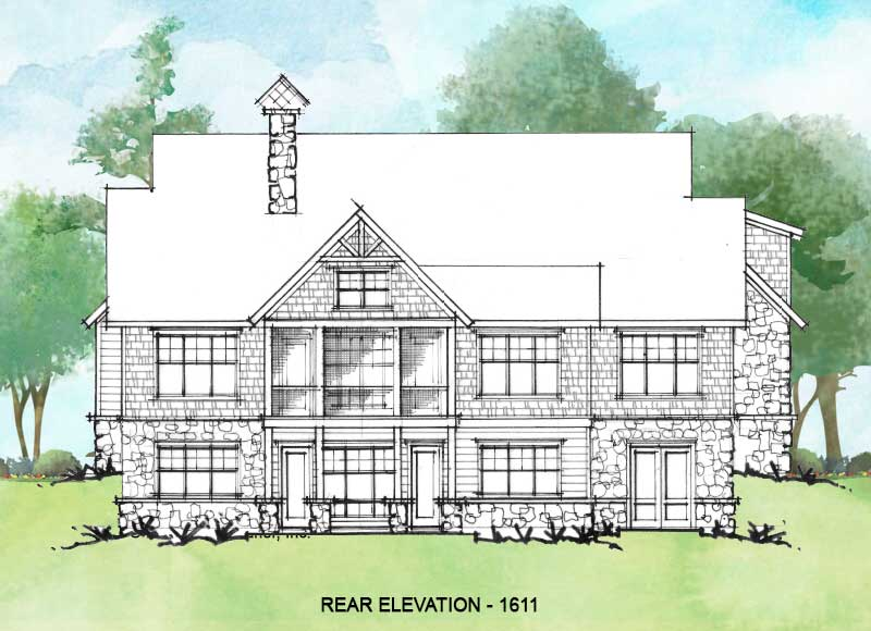 Rear elevation of Conceptual House Plan 1611.