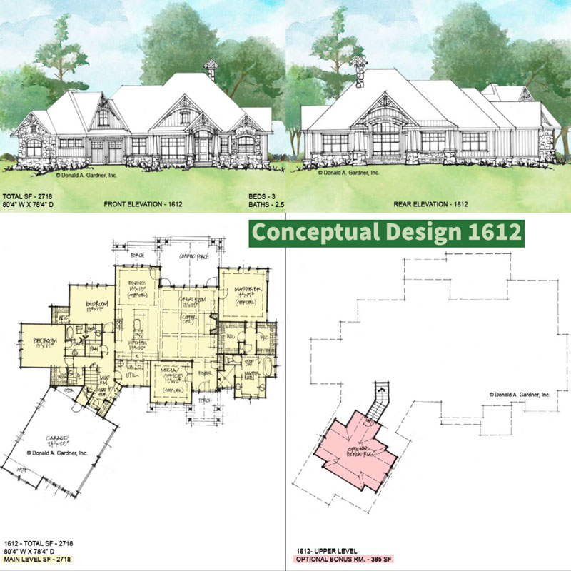 Overview of Conceptual house plan 1612.