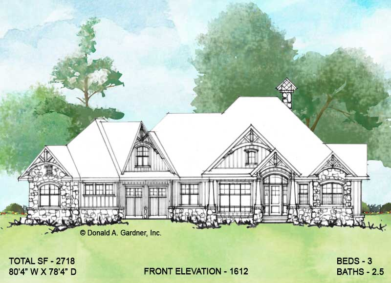 Front elevation of Conceptual house plan 1612.