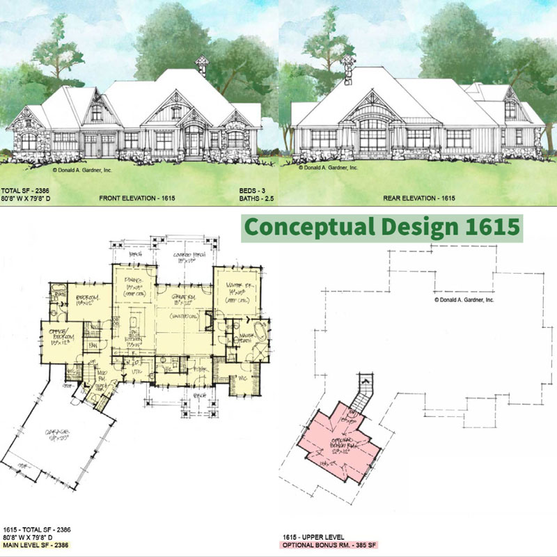 Overview of Conceptual house plan 1615.