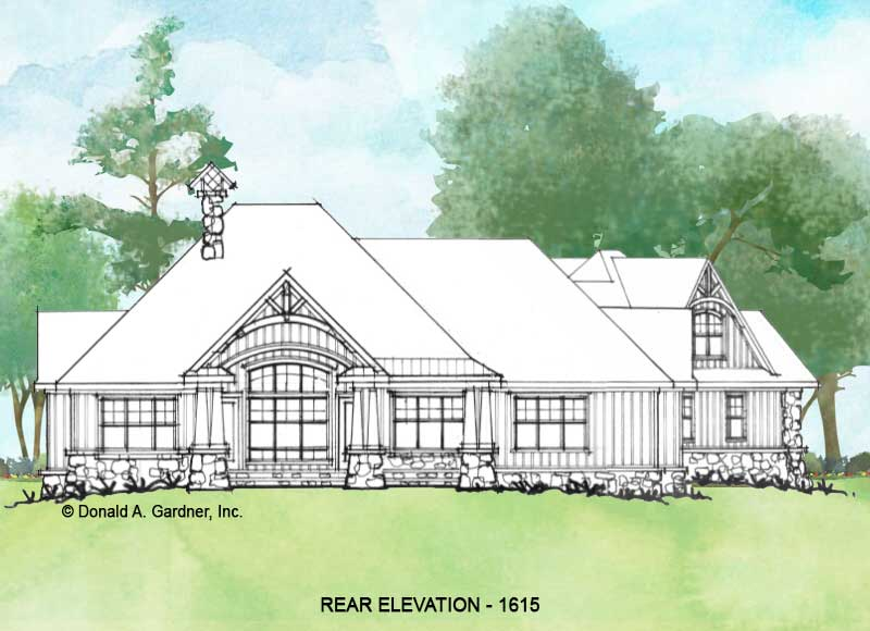 Rear elevation of Conceptual house plan 1615.