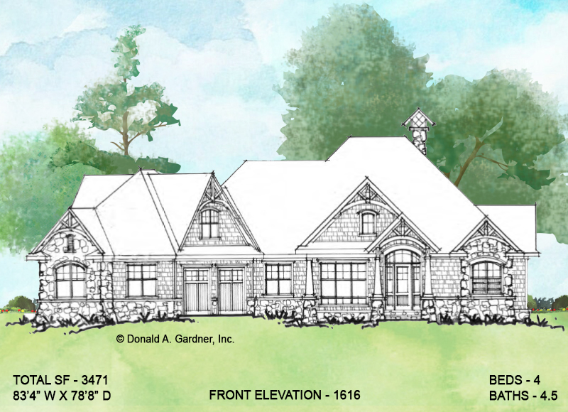 Front elevation of Conceptual House Plan 1616.