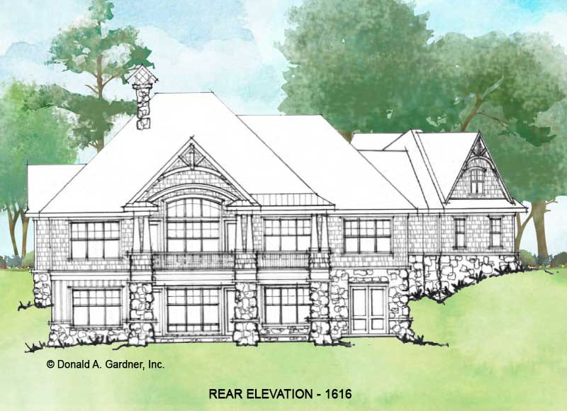 Rear elevation of Conceptual House Plan 1616.