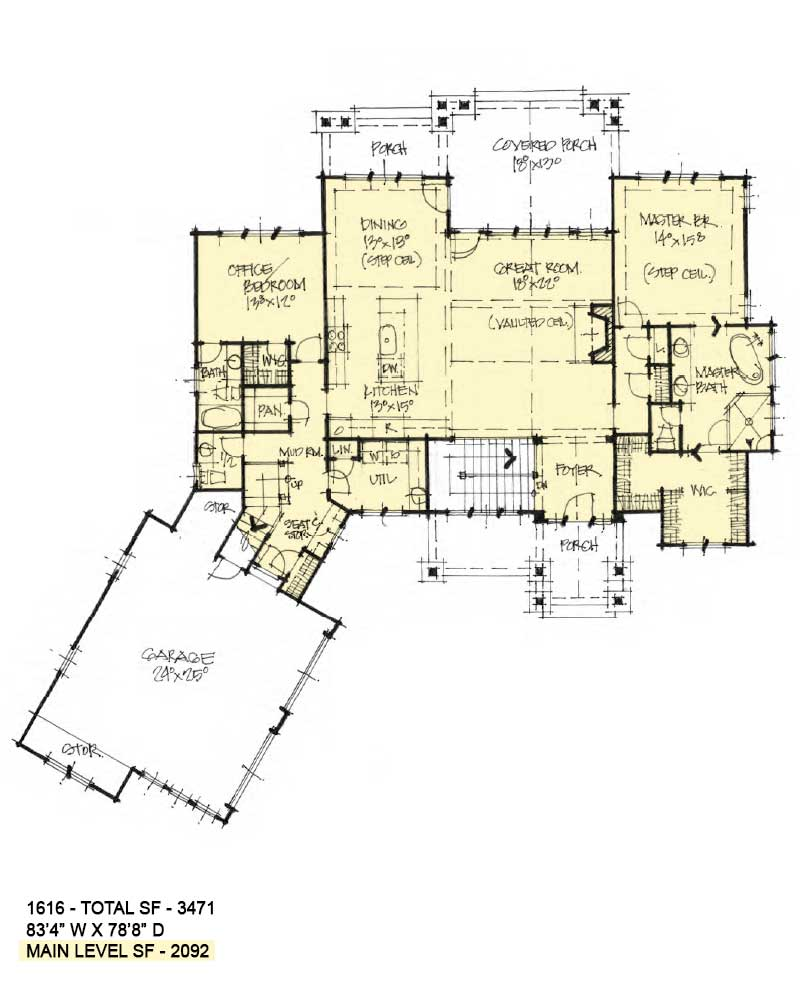 First floor of Conceptual House Plan 1616.