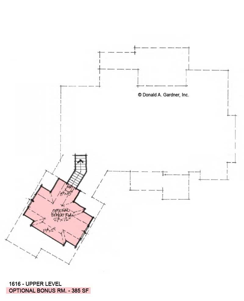 Bonus room of Conceptual House Plan 1616.