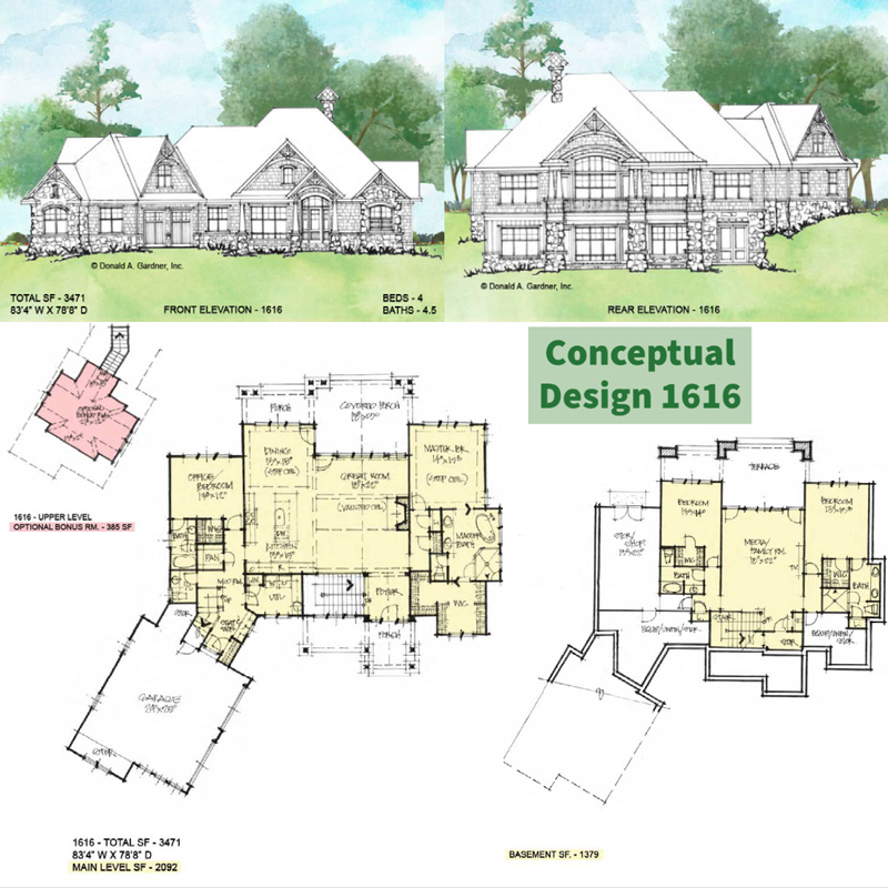 Overview of Conceptual House Plan 1616.