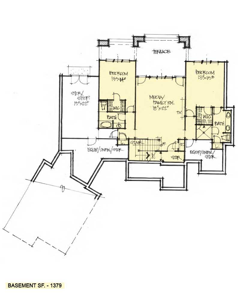 Basement floor of Conceptual House Plan 1616.