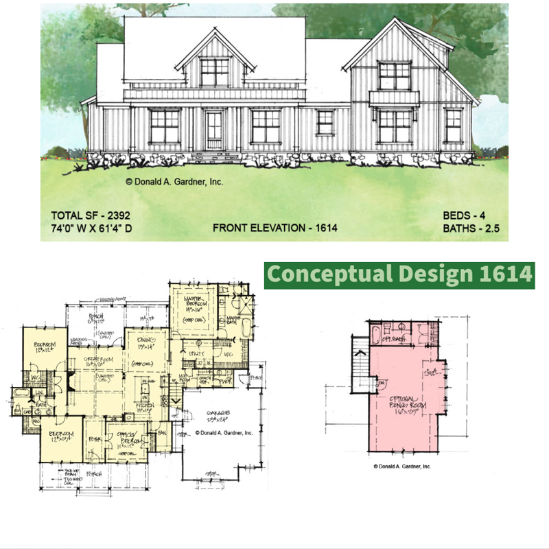 Overview of Conceptual house plan 1614.