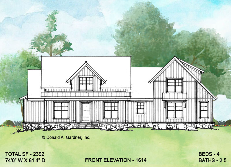 Front elevation of Conceptual house plan 1614.