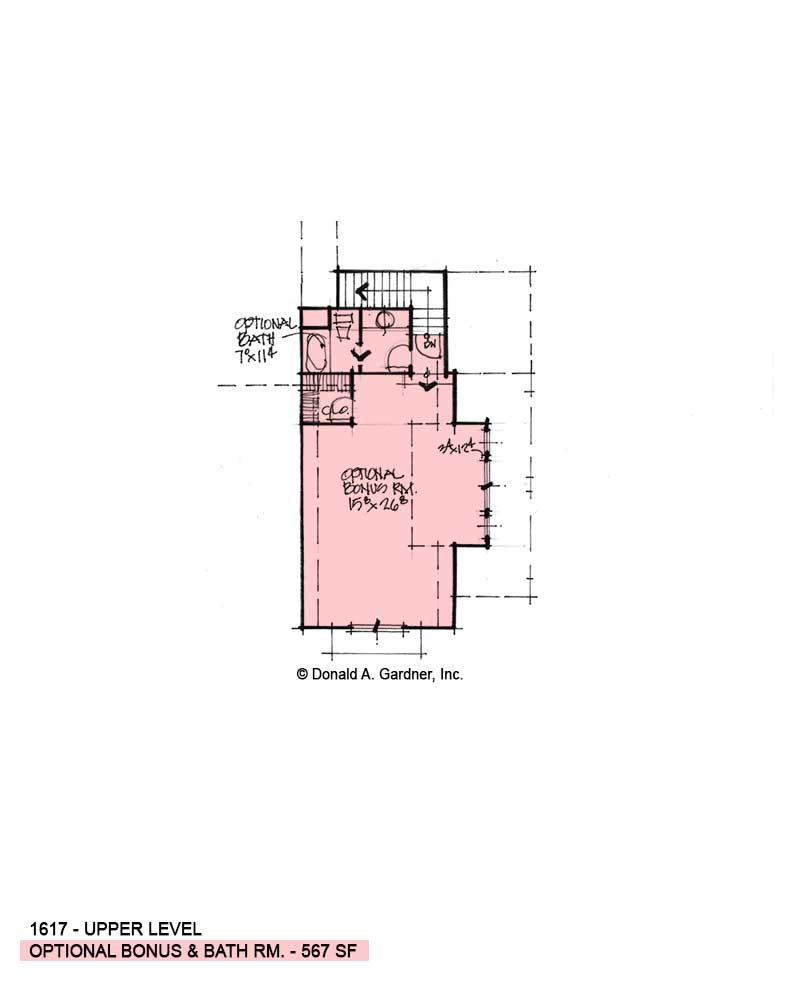 Bonus room of conceptual house plan 1617.