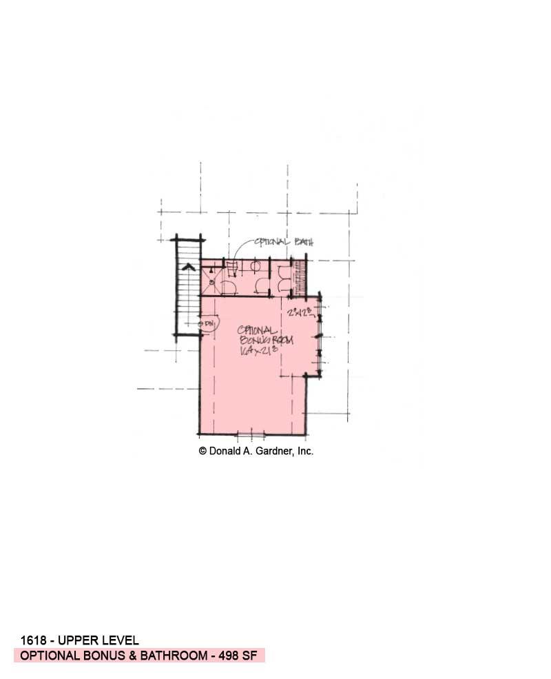 Bonus room of Conceptual house plan 1618.
