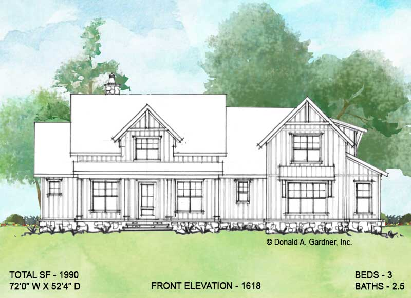 Front elevation of Conceptual house plan 1618.
