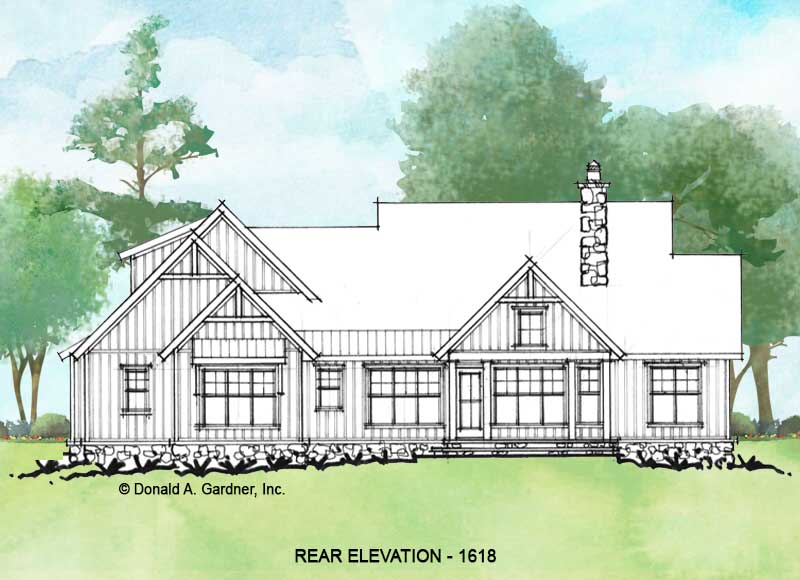 Rear elevation of Conceptual house plan 1618.