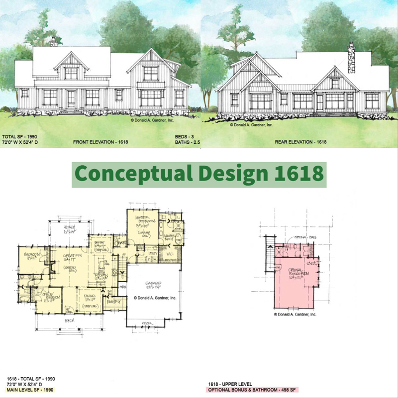 Overview of Conceptual house plan 1618.
