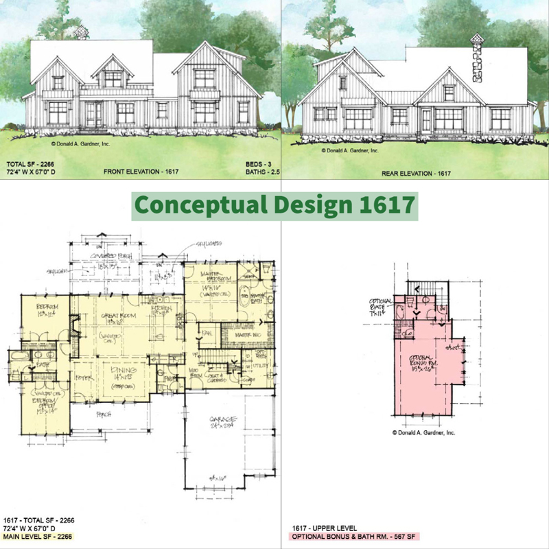 Overview of conceptual house plan 1617.