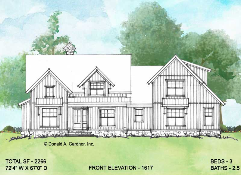 Front elevation of conceptual house plan 1617.