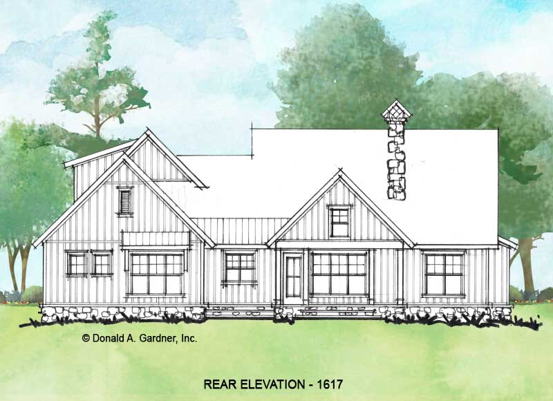 Rear elevation of conceptual house plan 1617.